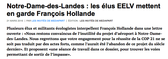 Notre-Dame-des-Landes : les élus EELV mettent en garde François Hollande