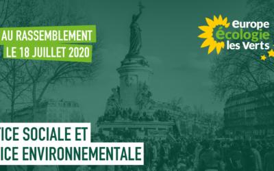 EELV appelle au rassemblement le 18 juillet pour la justice sociale et pour la justice environnementale