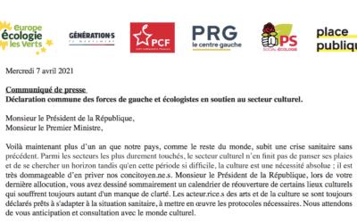 Déclaration commune des forces de gauche et écologistes en soutien au secteur culturel