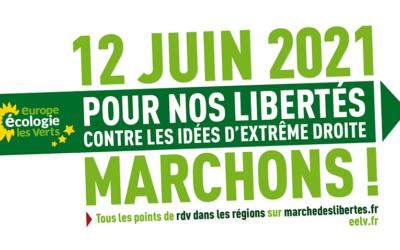 Pour la liberté et contre les idées de l'extrême droite, EELV sera dans la rue le 12 juin