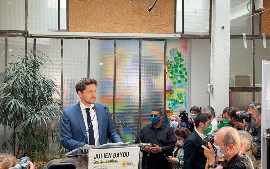 Discours de Julien Bayou, secrétaire national d'EELV, soir du second tour des élections régionales et départementales 2021 – 27 juin