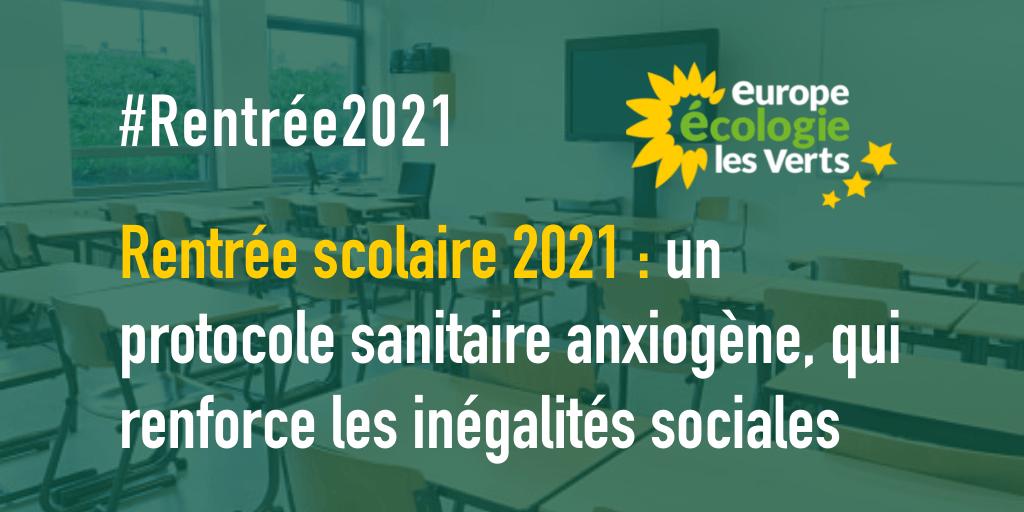 Rentrée scolaire 2021 : un protocole sanitaire anxiogène, qui renforce les inégalités sociales
