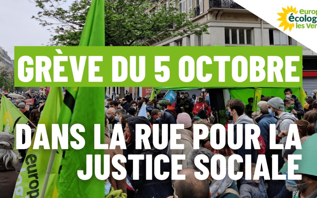 Ce 5 octobre, EELV est aux côtés des organisations syndicales pour la justice sociale